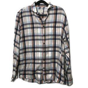 Frank & Oak Mens Size Medium White Plaid Shirt